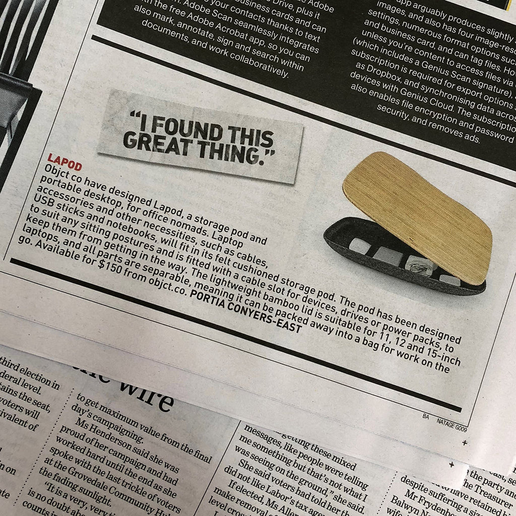LAPOD lap desk is in The Age & Sydney Morning Herald today!