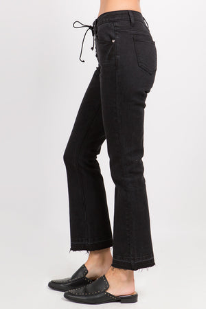 ONTWELFTH BLACK GROMMET LACE UP STRAIGHT LEG JEAN - JAUNTY