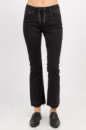 Open image in slideshow, ONTWELFTH BLACK GROMMET LACE UP STRAIGHT LEG JEAN - JAUNTY