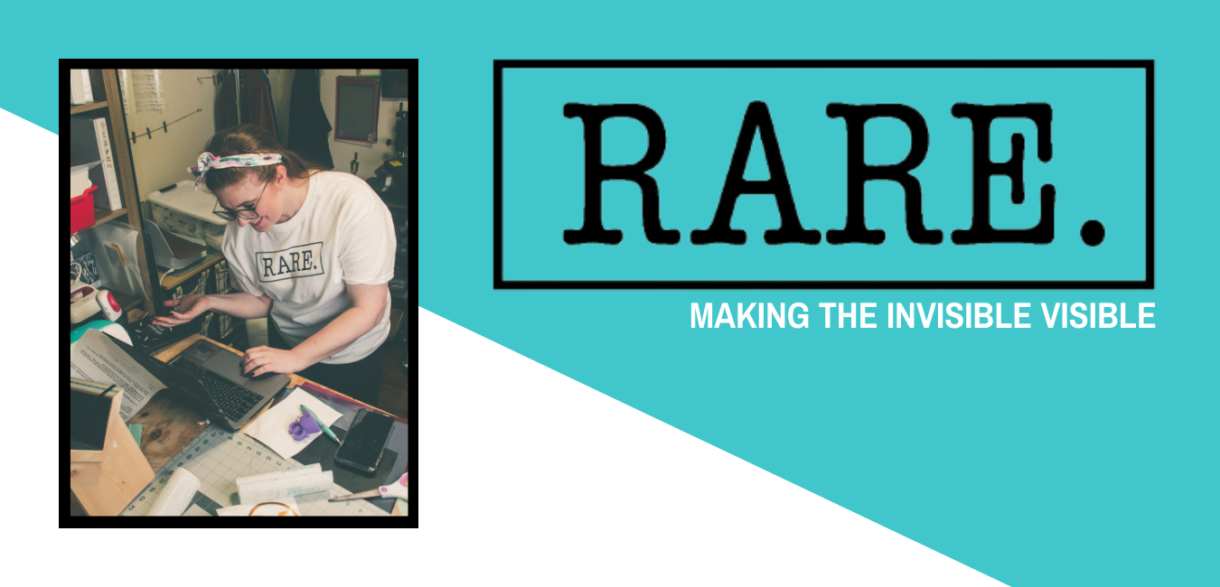 """Left side of the image is a picture of Kristine working at headquarters making Rare. products. On the right side of the image are the words, """"Rare. Making the invisible - visible."""""""