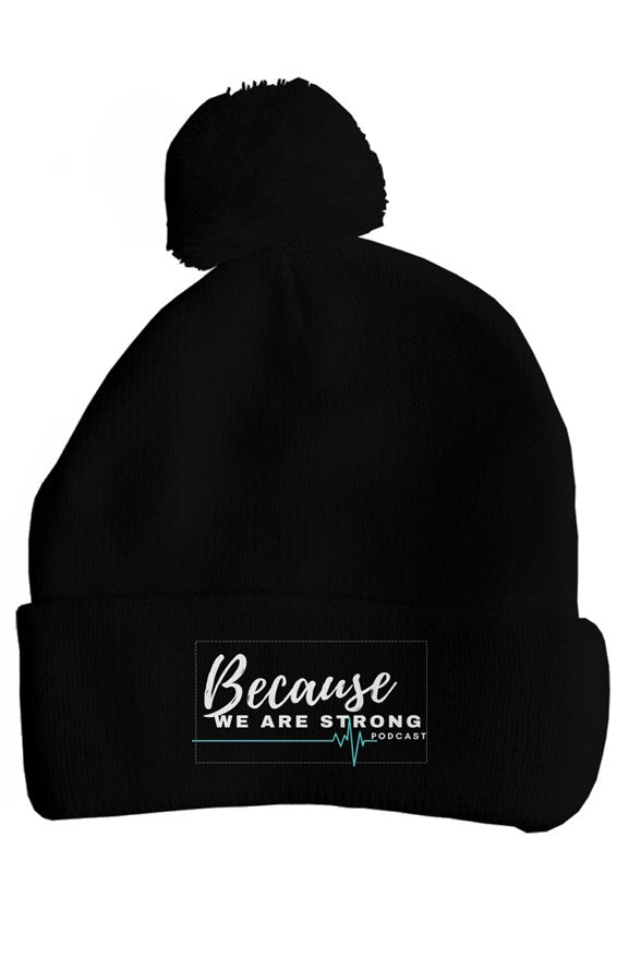Because We Are Strong Podcast Pom Pom Hat - RARE.
