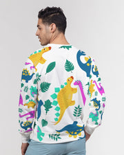 Dino All Over Print Men's Classic French Terry Crewneck Pullover - RARE.