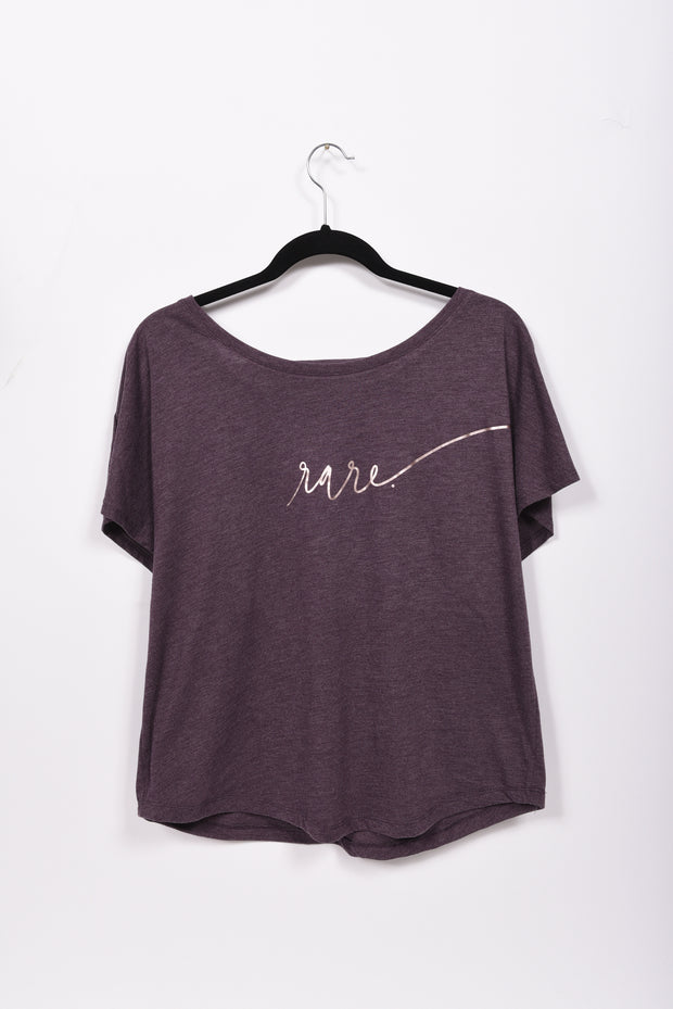 Scripted RARE. Ladies Tri-blend Dolman Tee - RARE.