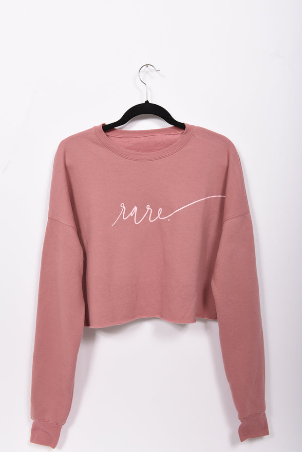 Scripted RARE. Cropped Crew Fleece Sweatshirt - RARE.