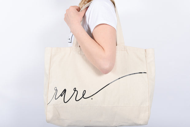 Scripted RARE. Large Canvas Tote with inside zipper pocket - RARE.