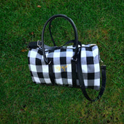 Checkered Buffalo Overnight Bag with Vegan Handles and Inside Lining - RARE.