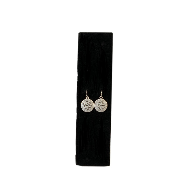 Paw Print Dangle Disc Earrings - RARE.