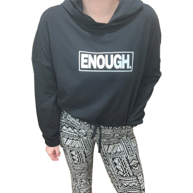 ENOUGH Cropped Draw String Hooded Long Sleeve - RARE.