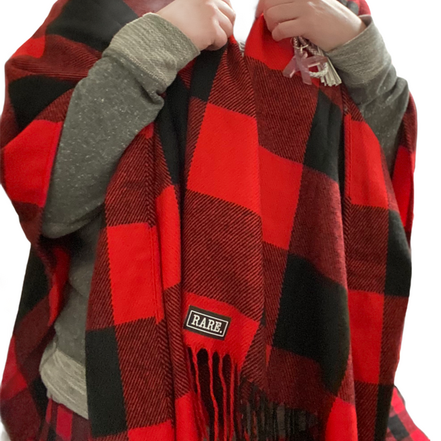 Red Buffalo Check Poncho - RARE.