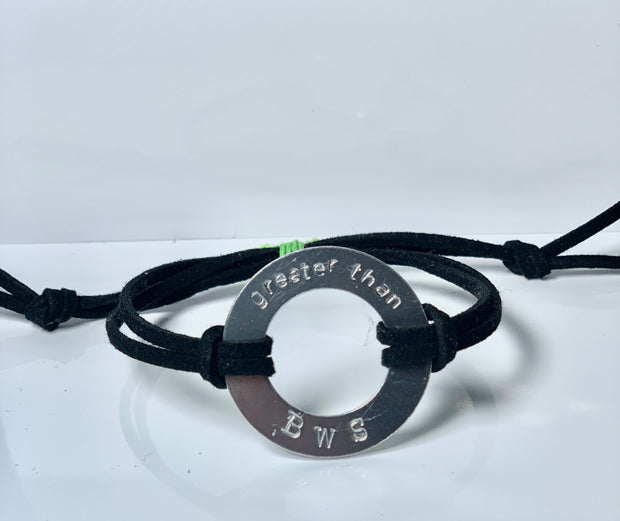 Greater Than BWS Hand Stamped Washer Bracelet - RARE.
