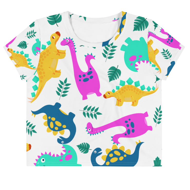 Dino All-Over Print Crop Tee - RARE.