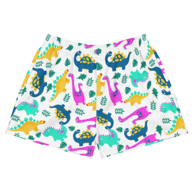 Dino All Over Print Women's Athletic Short Shorts - RARE.