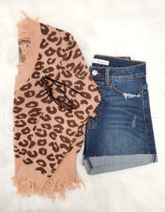 Leopard Fray Sweater