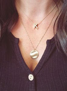 Initial & Disc Charm Necklace