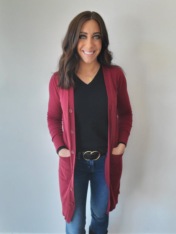 Long Burgundy Button Cardigan