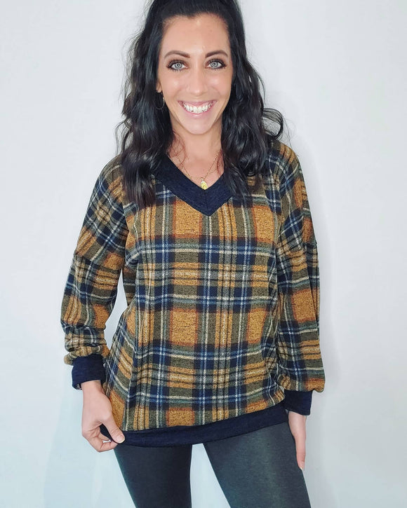 Mustard Plaid Top