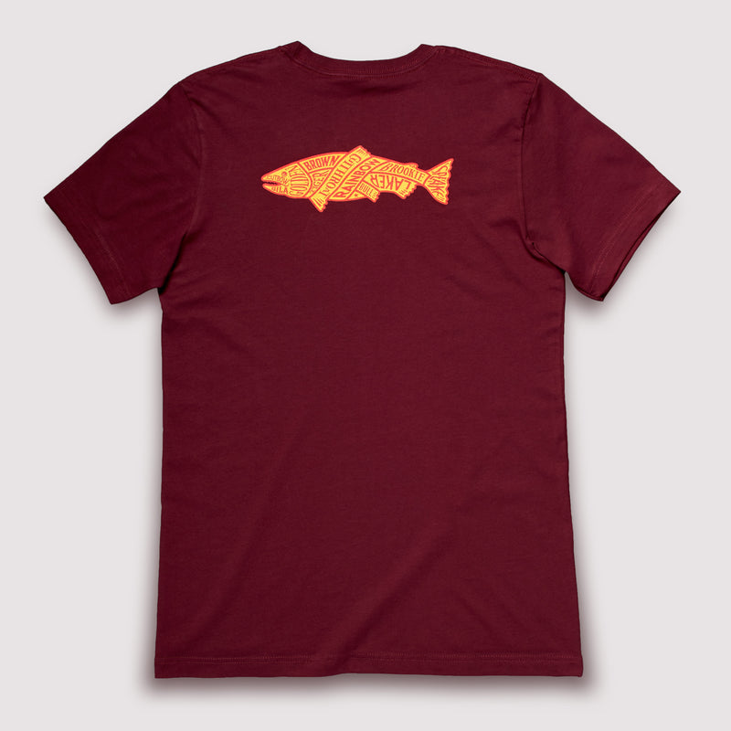 North American Trout - T-Shirt / Burnt Red