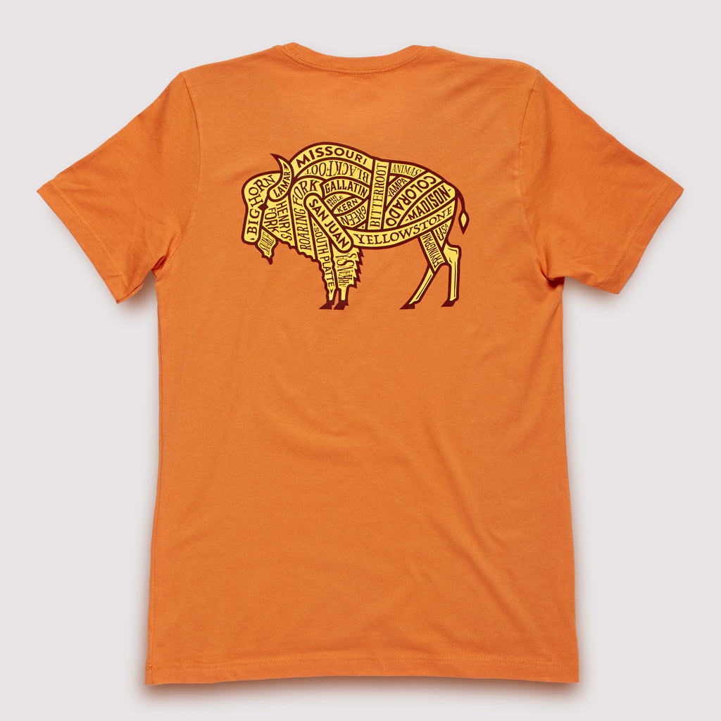 Western US Rivers - T-Shirt / Burnt Orange