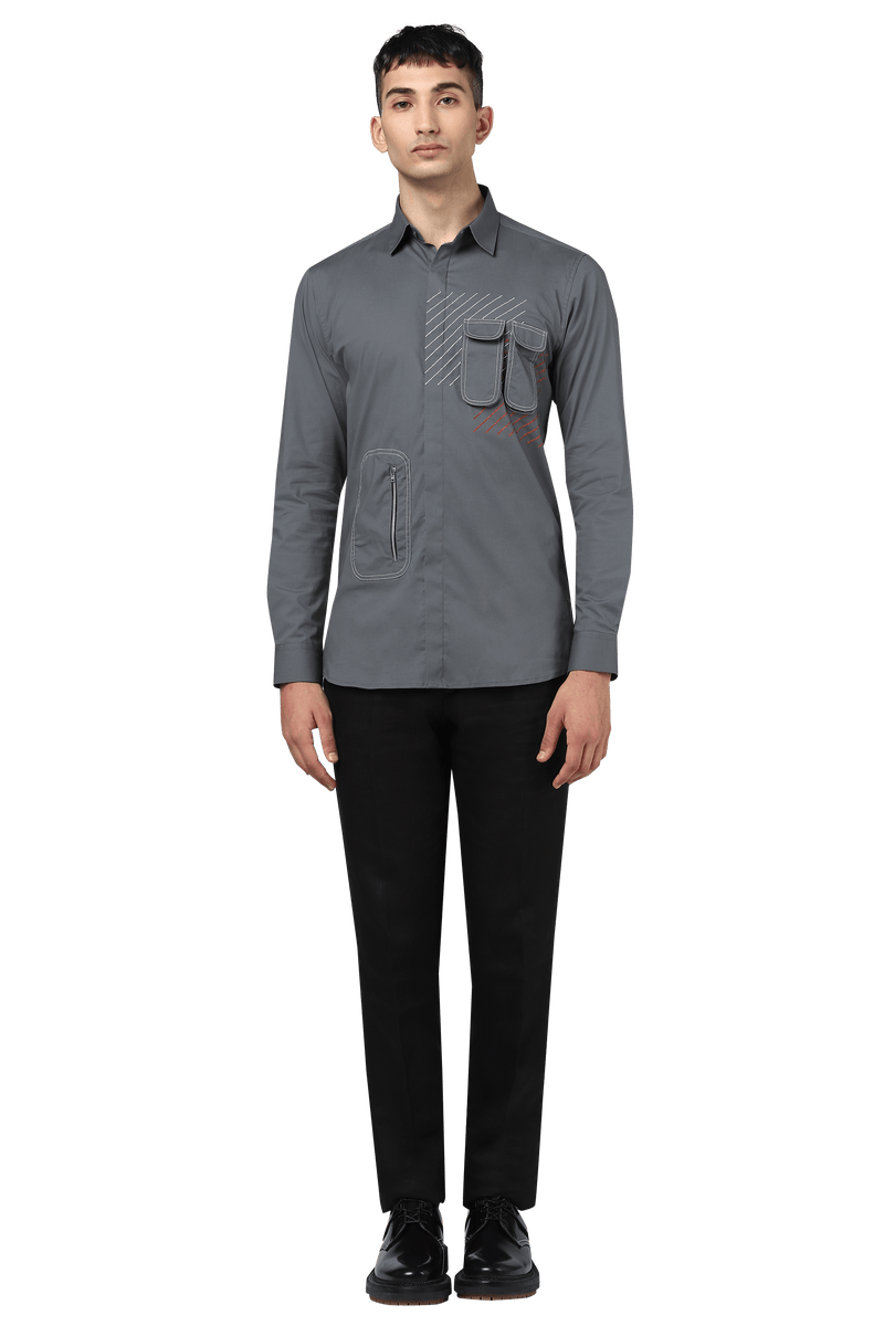 The Broken Signal Shirt With Utility Pocket - NOONOO