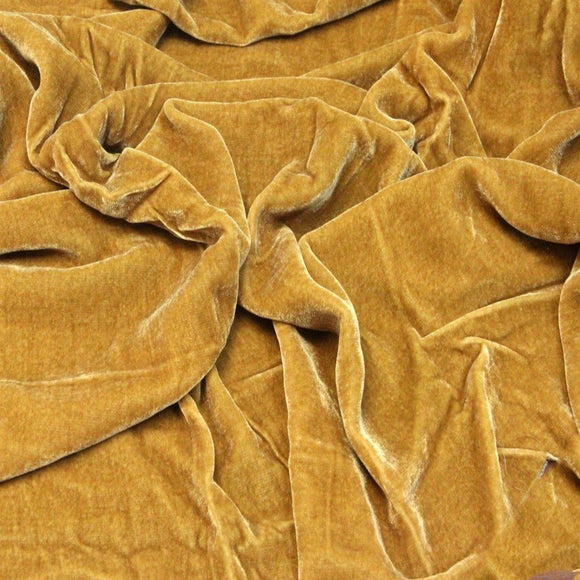 Gold Silk Velvet Fabric - Fashion Fabrics Los Angeles