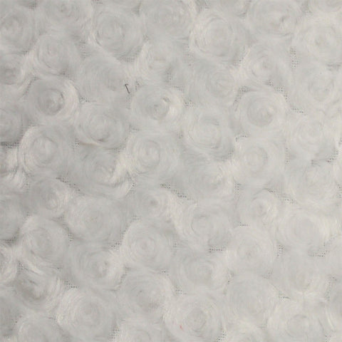 White Swirl Rose Bud Fabric