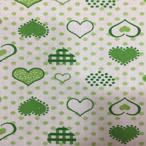 Green Dotted Hearts Print Poly Cotton Fabric