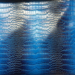 Royal Blue Black Two Tone Embossed Crocodile Vinyl Fabric - Fashion Fabrics Los Angeles