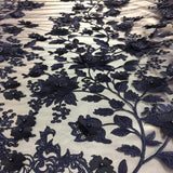 Navy Blue 3D Embroidered Satin Floral Pearl Lace Fabric - Fashion Fabrics Los Angeles