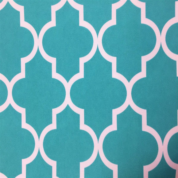 Aqua White Moroccan Print Indoor Outdoor Fabric - Fashion Fabrics Los Angeles