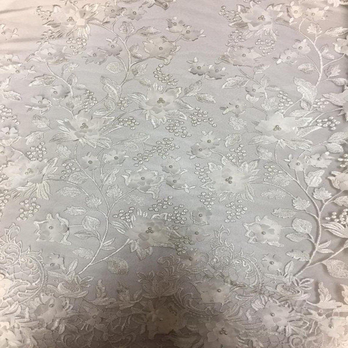 Off White 3D Embroidered Satin Floral Pearl Lace Fabric