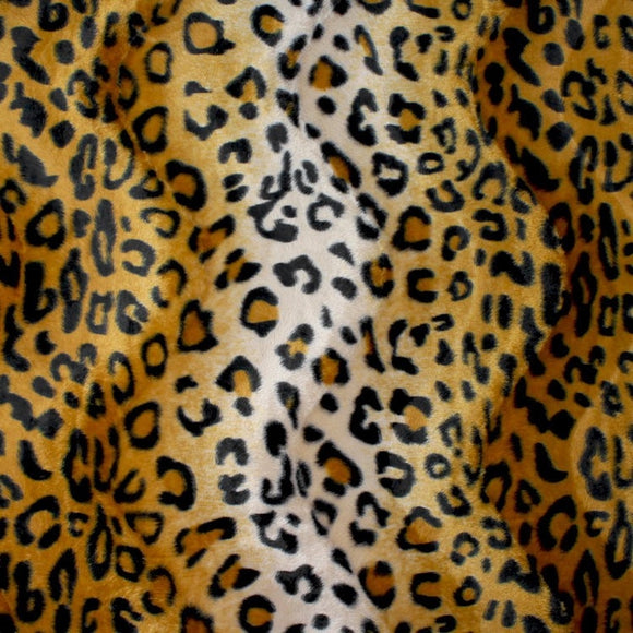 Gold Leopard Velboa Faux Fur - Fashion Fabrics Los Angeles