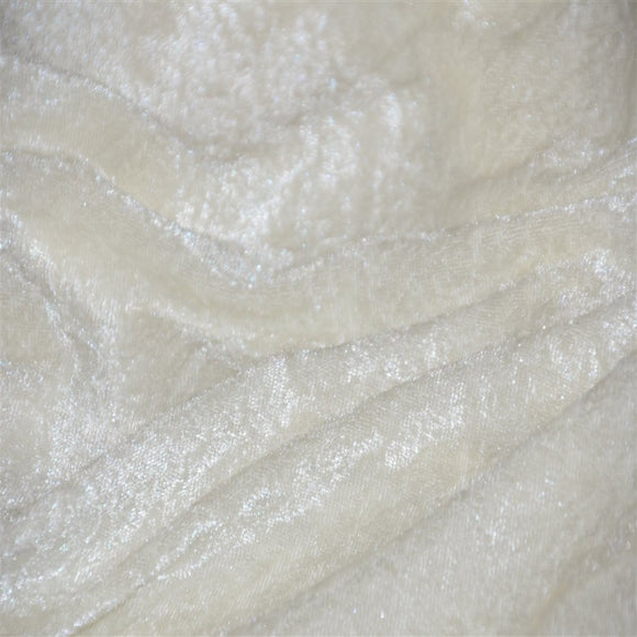 White Panne Crush Stretch Velvet Fabric - Fashion Fabrics Los Angeles