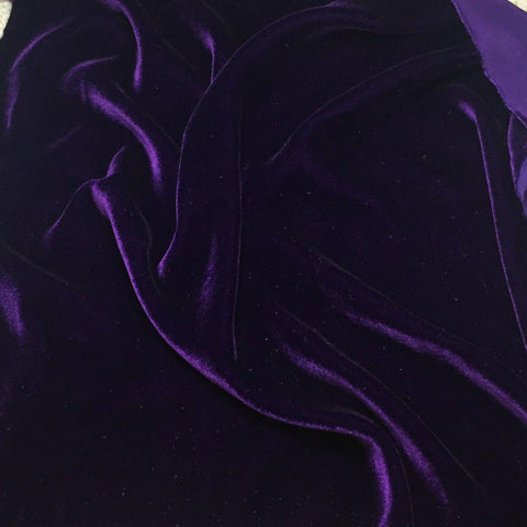 Dark Purple Silk Velvet Fabric - Fashion Fabrics Los Angeles