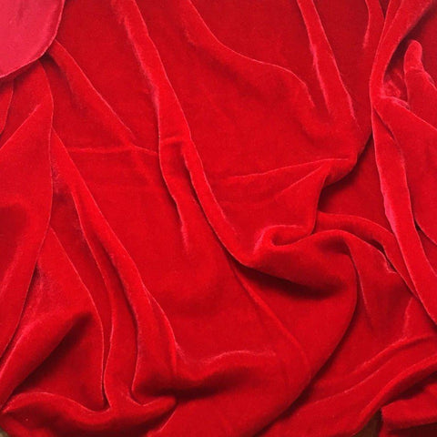 Red Silk Velvet Fabric
