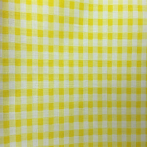 Yellow White Gingham Checkered Poly Cotton Fabric - Fashion Fabrics Los Angeles