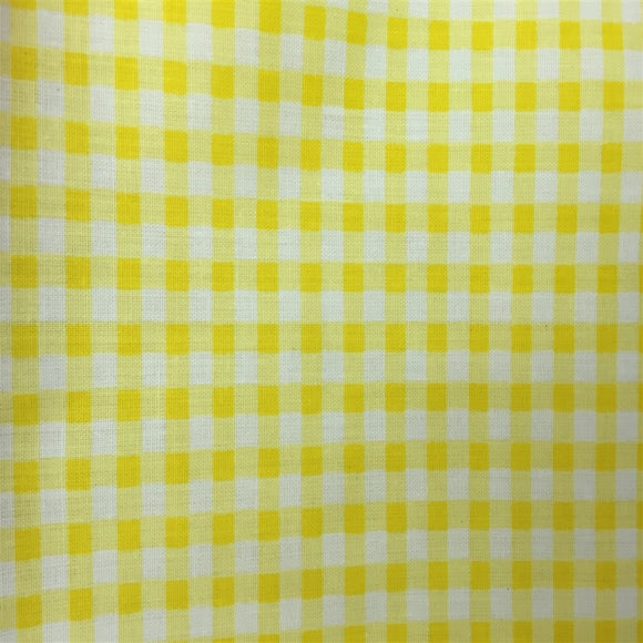 Yellow White Mini Checkered Poly Cotton Fabric