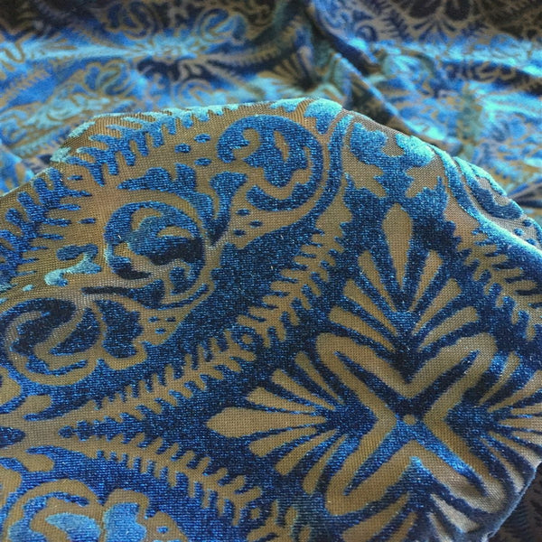 Blue Lili Burnout Stretch Velvet Spandex Fabric