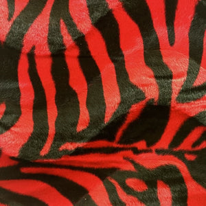 Red Big Zebra Velboa Faux Fur Fabric