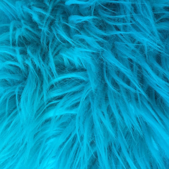 Turquoise Luxury Long Pile Shaggy Faux Fur Fabric - Fashion Fabrics Los Angeles