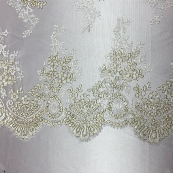 Ivory Gold Oswald Embroidered Lace Fabric - Fashion Fabrics Los Angeles