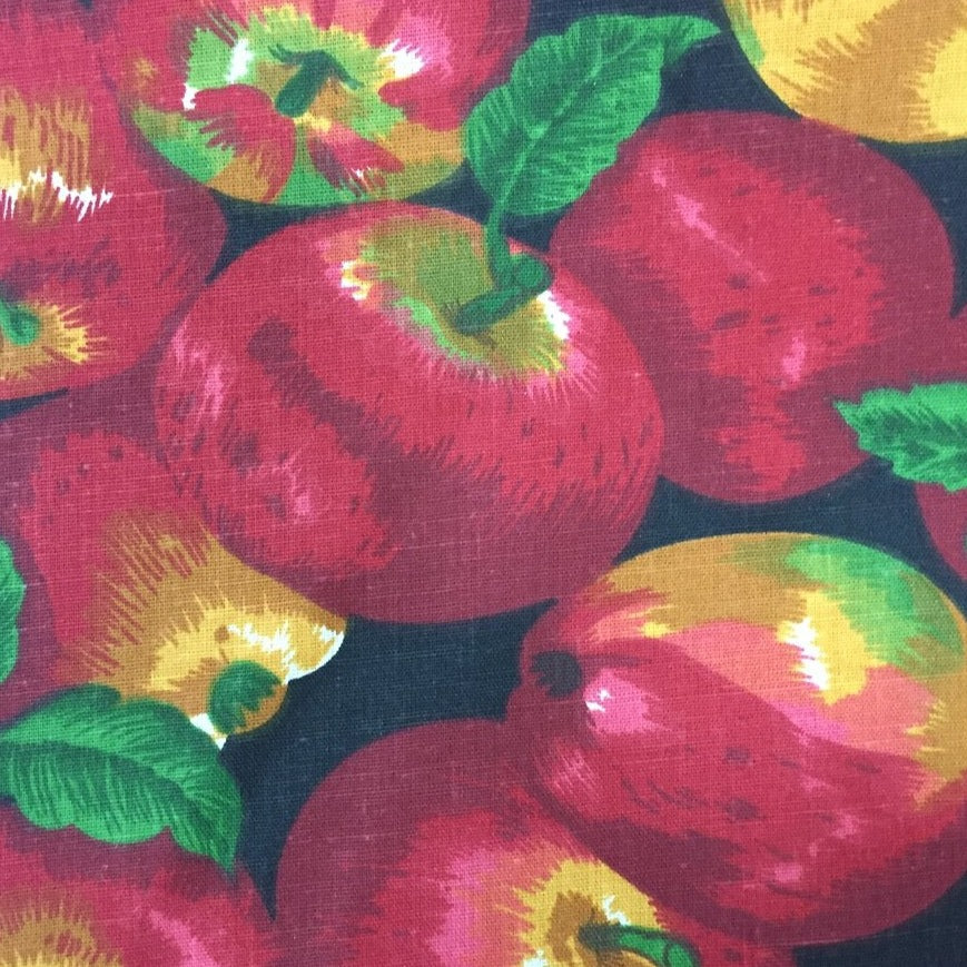 Black Apple Print Poly Cotton Fabric