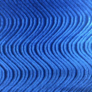 Royal Blue Swirl Velvet Flocking Fabric