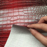 Red Black Two Tone Embossed Crocodile Vinyl Fabric