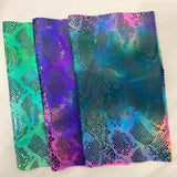 Hot Pink Blue Anaconda Tie Dye Hologram Snakeskin Nylon Spandex Fabric - Fashion Fabrics Los Angeles
