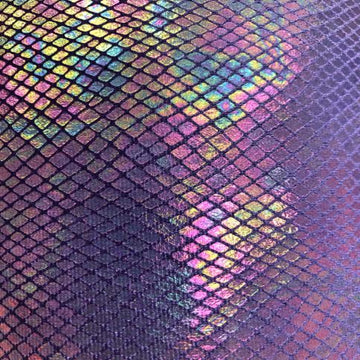 Purple Venom Snake Skin Stretch Velvet Iridescent Spandex Fabric - Fashion Fabrics Los Angeles