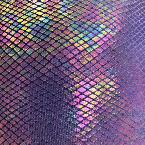 Purple Venom Snake Skin Stretch Velvet Iridescent Spandex Fabric