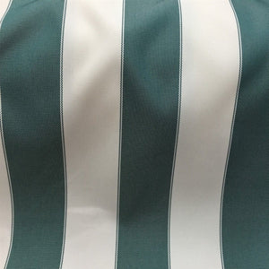 Hunter Green/ Ivory Striped Outdoor - Fashion Fabrics Los Angeles