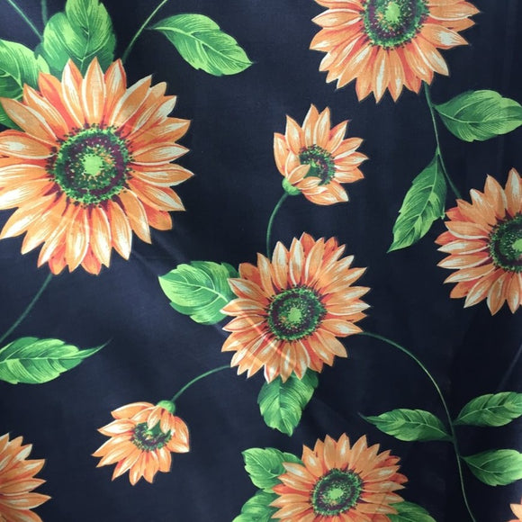 Black Daisy Poly Cotton Fabric - Fashion Fabrics Los Angeles
