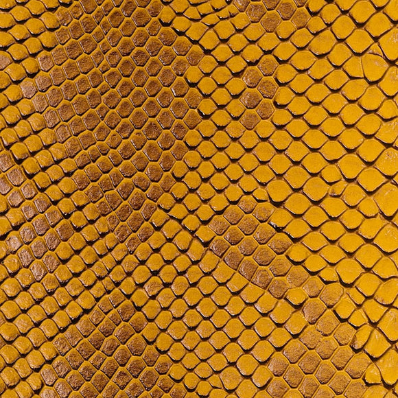Gold Faux Viper Sopythana Snake Skin Vinyl Fabric - Fashion Fabrics Los Angeles