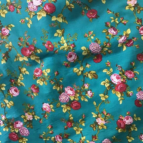 Teal Rose Floral Print Poly Cotton Fabric - Fashion Fabrics Los Angeles